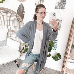 Sundry Blue White Open Front Striped Cardigan